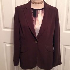 """JONES NEW YORK Blazer/Jacket/Coat Jones New York,  Gorgeous Brown 100% Acetate Jacket/Blazer. This is Fully Lined with a One Button Front Panel and is Etched with Beautiful Border Stitching. The Jacket is 27.5"""" Long, The Sleeves are 24"""", the Waist is 37"""" Buttoned and the Chest is Up to 40"""" also Buttoned. This is a Great Color to add to any Wardrobe. Looks Great Causal with Denim Jeans and Brown Boots. This is in Excellent Condition. Jones New York Jackets & Coats Blazers"""