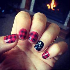 Red plaid cozy winter nail art