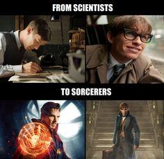 Why does Eddie Redmayne look so familiar? In the scientist part? Marvel Dc, Dreamworks, Harry Potter, Fandom Crossover, Eddie Redmayne, Fantastic Beasts And Where, Fandoms Unite, Film Serie, Doctor Strange