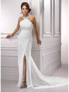 Trumpet Mermaid Halter Chiffon Wedding Dress