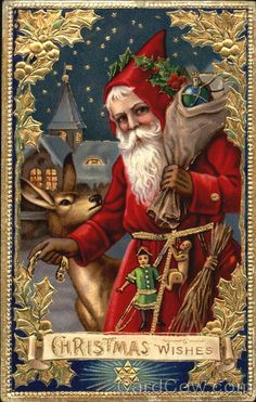 Free Printable Christmas Cards To Print and Send This Holiday Season: Victorian Santa by All Things Christmas Vintage Christmas Images, Victorian Christmas, Father Christmas, Santa Christmas, Vintage Holiday, Christmas Pictures, Christmas Glitter, Victorian Art, Vintage Halloween