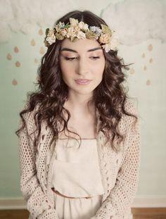 Corona de flores vintage.