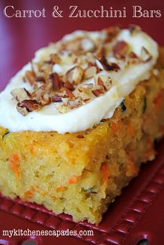 Carrot & Zuchinni Bars with Lemon Cream Cheese Frosting-very good...i sprinkled with coconut...yummy and i used frozen shredden zuch. from last year