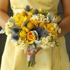 Yellow Bouquet with Blue Thistles (Hint: Get some bright blue flower paint and spray the thistles so that the colour really pops!)