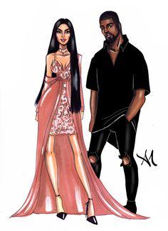 The Power Couple, Kim Kardashian & Kanye West - by Armand Mehidri