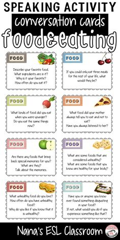 Conversation starters about food and eating English Speaking Practice, Learn English Words, English Vocabulary, English Grammar, Teaching English, English Conversation For Kids, Conversation Topics, Conversation Starters, English Tips