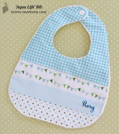 Personalised patchwork baby bib 'Aqua Life' - aqua blue bib with hand embroidered name Baby Gifts To Make, Baby Clothes Quilt, Patchwork Baby, Handmade Gift Tags, Baby Crafts, Baby Sewing, Baby Bibs, Burp Cloths, Fabric Patterns
