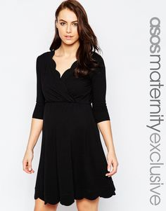 Image 1 ofASOS Maternity NURSING Scallop Wrap Skater Dress