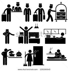 Hotel Services Receptionist Bellboy Housekeeper Worker Customer Visitor Stick Figure Pictogram Icon - stock vector