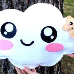 In this video I show you how to make a Kawaii cloud pillow and a kawaii star… Felt Crafts Diy, Felt Diy, Diy Crafts For Kids, Arts And Crafts, Diy Kawaii, Kawaii Crafts, Cloud Cushion, Cloud Pillow, Diy Pillows