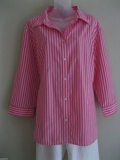 Chaps Womens Cotton Pink and White Striped Loose Fit~Shirt Top Blouse Lauren #Chaps #ButtonDownShirt #Career