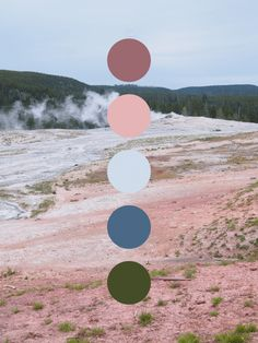 Old Faithful Color Palette - Color scheme inspired by Old Faithful in Yellowstone National Park. Featuring pinks, blues, and gre - Color Schemes Colour Palettes, Colour Pallette, Color Combos, Instagram Storie, Pantone, Inspiration Art, Old Faithful, Colour Board, Color Stories