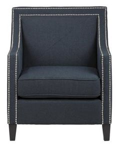 Luca Transitional Abington Indigo Accent Chair w/Silver Nailheads