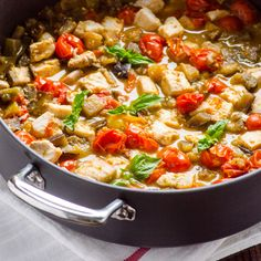 Easy Fish and Vegetables Skillet: 1 medium eggplant, diced,   2 tbsp extra virgin olive oil,   3 cups cherry tomatoes,   1 cup boiling water,   1 tbsp maple syrup (optional?) 1 tsp original Tabasco sauce,   1 tsp apple cider vinegar,   1 lb tuna (firm fish),   salt & black pepper,   1/2 cup basil,