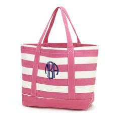 5592cab3d1 Hot Pink Stripe Canvas Tote Monogram Tote Bags