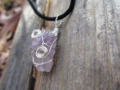 Raw uncut Amethyst stone wrapped in wire for by TheFeatherFlys, $28.00
