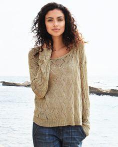 Blusa de tricô com ponto ajurado ziguezague