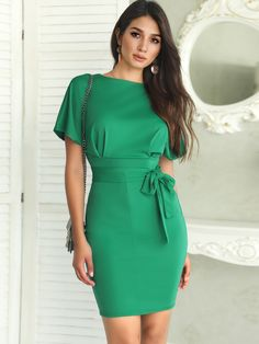 Plus size women short sleeve casual dress office ladies work evening summer bodycon midi dress belted slip dress Dress Outfits, Casual Dresses, Fashion Dresses, Buy Dress, Pattern Fashion, Bodycon Dress, Belted Dress, Clothes For Women, Womens Fashion