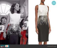 Olivia's black and white metallic dress on Scandal.  Outfit Details: http://wornontv.net/54258/ #Scandal