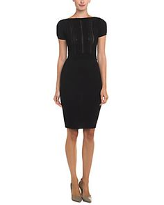 RED Valentino Black Lace Applique Wool Dress