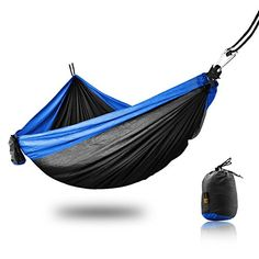 ANGIX Portable Double Hammock Outdoor Parachute Nylon Fabric for Light Traveling Backpacking Backyard >>> Click image to review more details.