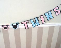 TWINS Baby Shower Banner  WELCOME TWINS  Baby Minnie and by Devany, $25.00