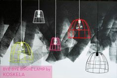 Good neon gods, I love these! // neon wire cage lights
