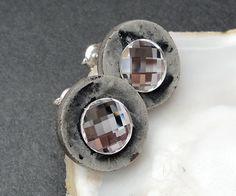 Muszla i kryształ...efektowne wkrętki - Maggia-Art - Kolczyki wkrętki