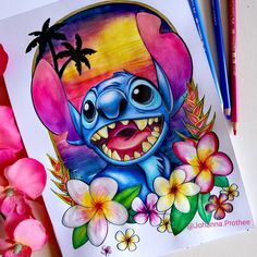 My stitch version made with polychromos and watercolors Cute Disney Drawings, Cool Art Drawings, Art Drawings Sketches, Cartoon Drawings, Cartoon Art, Animal Drawings, Disney Stitch, Disney Canvas, Disney Art