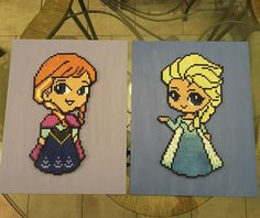 Anna and Elsa - Frozen perler beads by perlinthesprites_byliz
