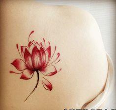 Rojo o negro loto flor tatuajes temporales del impermeabilizan etiqueta engomada del tatuaje para los hombres las mujeres brazo pierna cuerpo de arte pintura