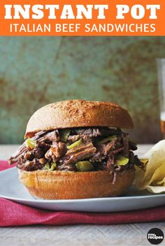Slow cooking excels with this recipe. The beef slowly braises until it practically falls to shreds. Complete your sandwich with mozzarella or provolone cheese. Although it's great on sandwiches, the meat is also delicious over a baked potato topped with sour cream. |
