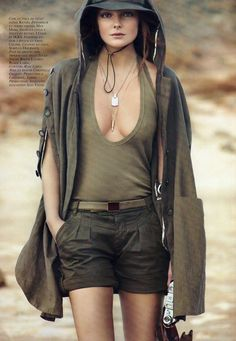 Eniko Mihalik - olive summer outfit... top's a bit low cut, lol...