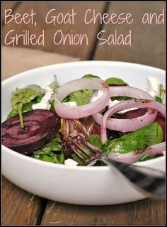 Beet, Goat Cheese, and Grilled Onion Salad #MeatlessMonday