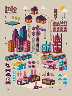 isometric city info graphic,
