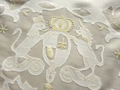 "Unicorn & Lion CREST, Griffins & CHERUBS Vtg MADEIRA Applique Tablecloth 72x128"""