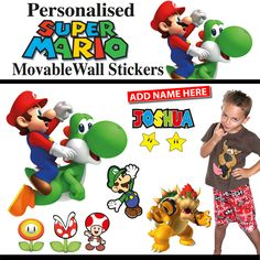 Personalised Super Mario Wall Stickers - Totally Movable Movable Walls, All Wall, Super Mario, Wall Stickers, Bowser, Shop, Kids, Wall Clings, Young Children
