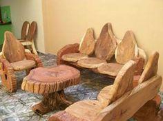 Tree Stump Furniture, Trunk Furniture, Rustic Log Furniture, Wooden Pallet Furniture, Handmade Furniture, Unique Furniture, Diy Furniture, Furniture Design, Diy Wood Projects