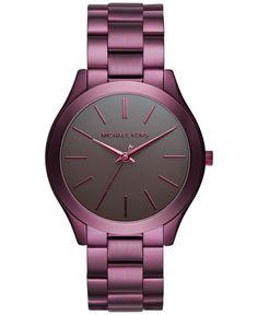 Michael Kors Women's Slim Runway Plum Stainless Steel Bracelet Watch 42mm MK3551 - Limited Edition
