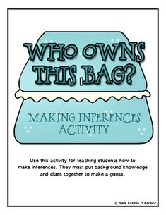 WHO OWNS THIS BAG INFERENCE ACTIVITY FOR GRADES 2, 3, 4 {LITERACY STATION} - TeachersPayTeachers.com