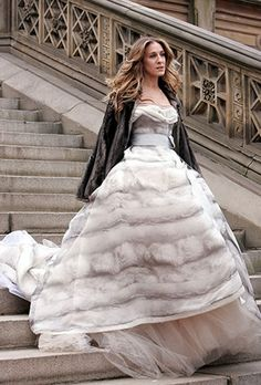 Carrie Bradshaw's best - I love the volume of this dress & the contrast in textures