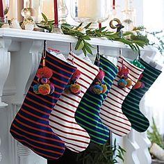 Jersey Knit Stripe Stocking – Holly/White | Serena & Lily