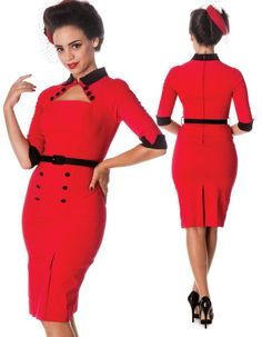 The gorgeous Clara pencil dress has arrived. Stunning in red for day or evening wear.  Bengaline pencil dress.     Contrast collar and cuffs.  3/4 length sleeve.  Hook and eye fastening at the neck on collar.  3 self fabric covered buttons on the top under the collar.  Princess seams over the bust.  Waist seam.  Contrast fabric covered belt at the waist.  Belt loops.  Contrast fabric covered buttons on the skirt section.  Darts on the front skirt, opening out into a pleat.  Zip in the…