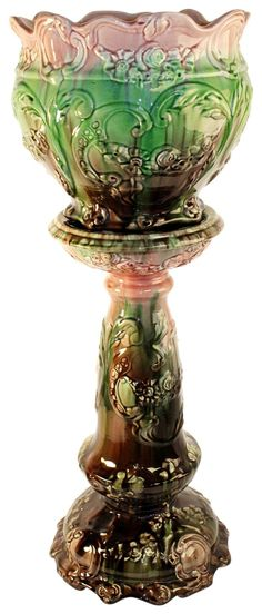 Weller Pottery Majolica Colorful Jardiniere And Pedestal