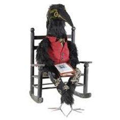 "Joe Spencer Folk Art Halloween EDGAR ALLEN CROW 30"" Doll Figurine"