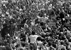 Millions cheer Pope John Paul II in his first visit to Poland as pontiff in 1979.