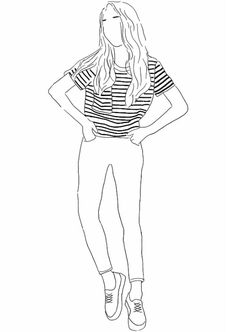 fashion illustration, line work, person, figure, stripe t shirt
