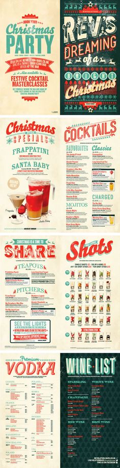 Christmas Cocktail Menu Design, Graphic Design, Typography, Retro Colours by…