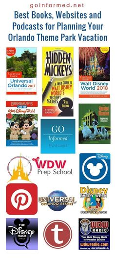 Disney World and Universal Orlando book, website, and podcast recommendations. Great tips for Disney World and Universal Orlando vacation planning. Universal Orlando, Universal Studios Florida, Walt Disney Orlando, Orlando Vacation, Disney Cruise Tips, Walt Disney World Vacations, Disney Travel, Family Vacations, Family Travel