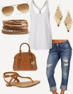 **** Best selection of distressed jeans at Stitch Fix!  Let our stylist dress you! Love this twist back white halter top. Easy outfit with cute pops of gold jewelry.  Stitch Fix Spring, Stitch Fix Summer, Stitch Fix Fall 2016 2017. Stitch Fix Spring Summer Fall Fashion.